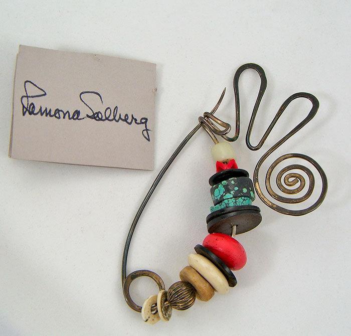 Ramona Solberg Silver and Trade Bead Brooch