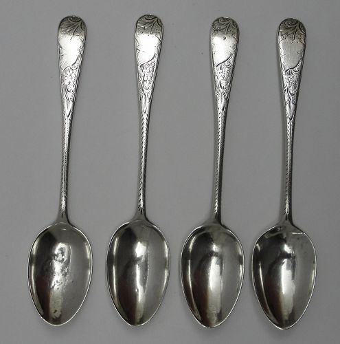 Nice Set of 4 Decorated Scottish Sterling Silver Spoons, Glasgow 1891