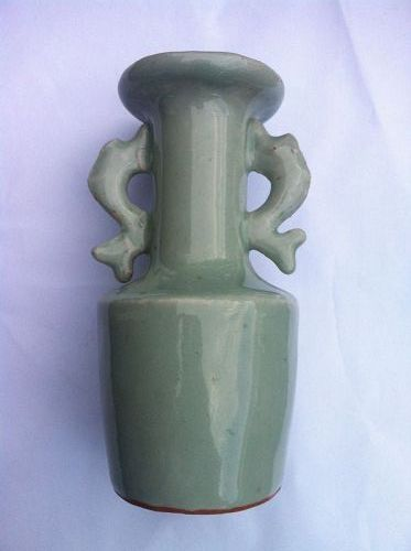 Song Style Celadon Longquan Twin Fish Vase