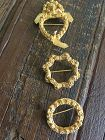 Antique Peranakan Straits Chinese gilt gold kerosang brooches