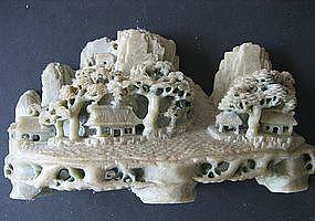 Chinese Green Soap Stone Landscape Carving