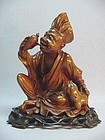 CHINESE BOX WOOD CARVED �JI GONG� STATUE