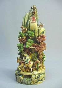 CHINESE EARLY 20TH C. MULTI-COLORED IVORY LANDSCAPE