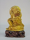 19TH C. CHINESE STONE CARVING OF AN IMMORTAL