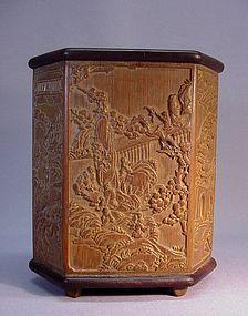 CHINESE CARVED BAMBOO HEXAGONAL BRUSH HOLDER