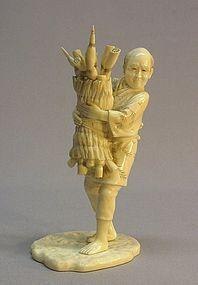 19TH C. JAPANESE IVORY OKIMONO OF A FARMER