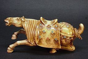 CARVED CHINESE IVORY RECLINING HORSE