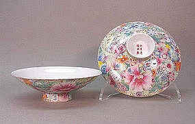 CHINESE FAMILLE ROSE MILLE FLEURS DISHES