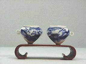 Chinese Blue & White Porcelain Bird Feeders