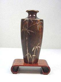 Japanese Inlaid Bronze Vase