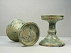 Chinese Han Green Glazed Candle Holders