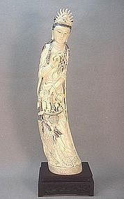 CHINESE IVORY CARVED GODDESS OF MERCY