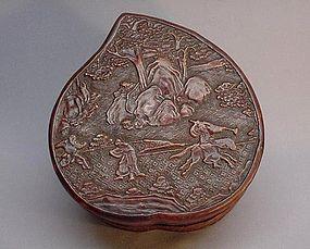 CHINESE 19TH CENTURY CINNABAR BOX