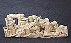 JAPANESE 19TH CENTURY IVORY OKIMONO OF 6 IMMORTALS