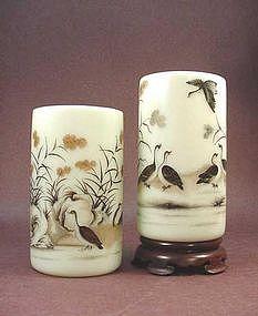 CHINESE ENAMELED GLASS BRUSH HOLDERS