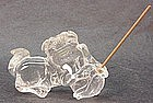 CHINESE CARVED CRYSTAL FOO LION INCENSE HOLDER