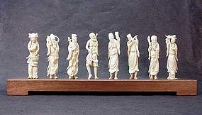 """CHINESE CARVED IVORY """"EIGHT IMMORTALS"""""""