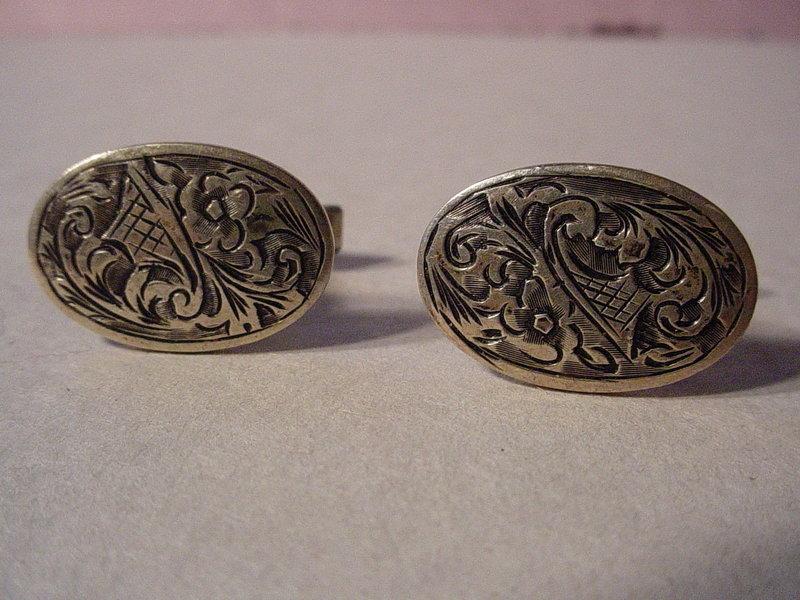 European Silver Niello Cufflinks