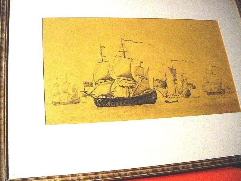 19thC~Signed   Man- of- War Print