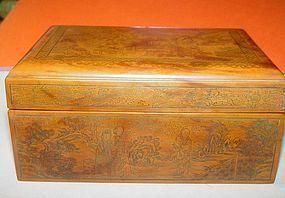 Chinese Scenic Bakelite Box ~ Signed