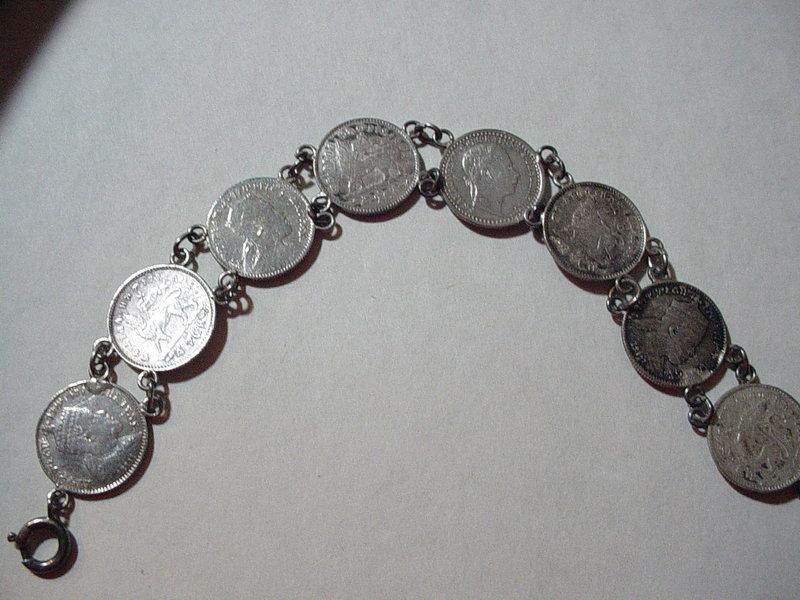 19thC Ethiopian+ Austrian Silver Coin Bracelet