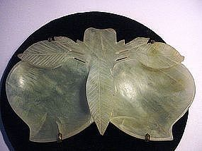 Chinese Carved Jade Double Persimmon Dish