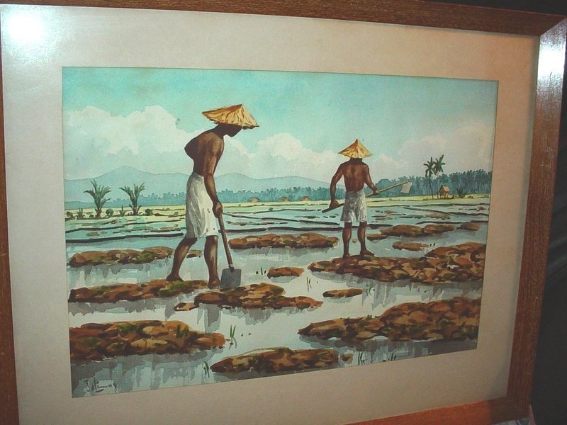 Southeast Asian Watercolor ~ Signed