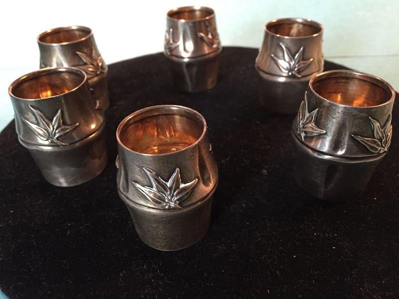 Set of 6 Aesthethic Sterling Beakers ~ Edward H. Stockwell London 1885