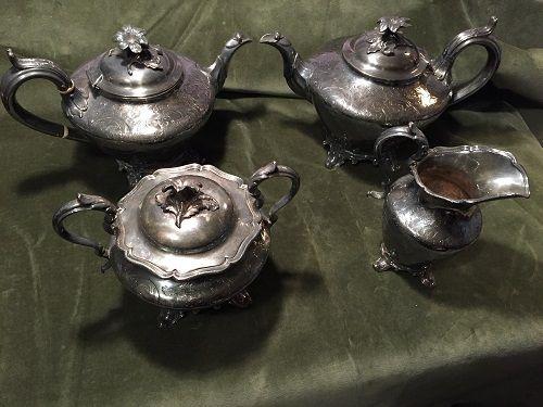 19thC James Dixon Sheffield Plate 4Pc. Coffee + Tea Set