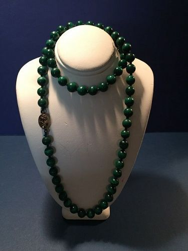 Chinese Export Silver Malachite Bead Necklace