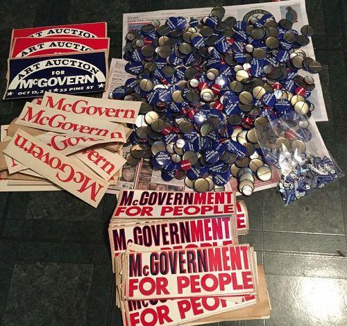 HUGE Lot of McGovern-Shriver 1972 Presidential Election Memorabilia