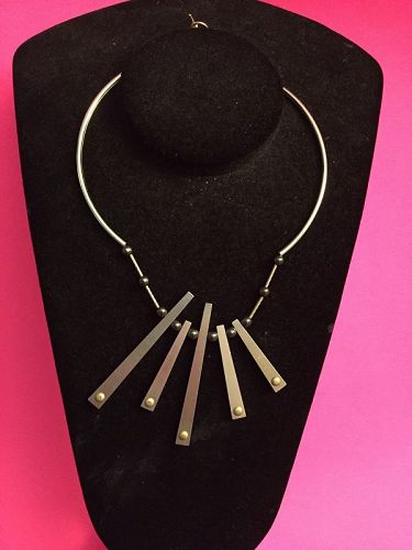 Mod Style Silver and Hematite Necklace