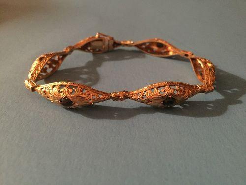 Antique 18k Gold Sapphire Bracelet