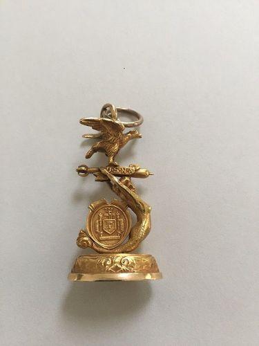 10k - 14k  Figural 1907 US Naval Academy Fob