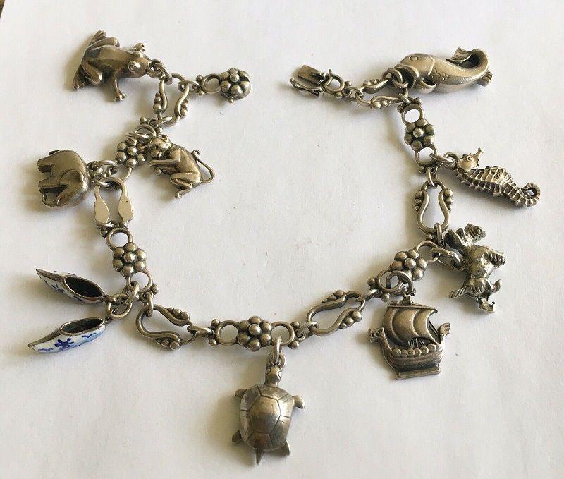 Art Deco Georg Jensen Denmark Sterling Charm Bracelet