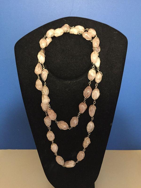 Heavy  Rose Quartz Caged Silver Necklace
