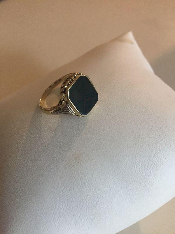 14k Art Nouveau Bloodstone Ring ~ M.B. Bryant
