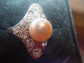Edwardian Platinum Diamond + South Sea Pearl Ring