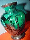 Aqua Blue Silver Deposit Vase