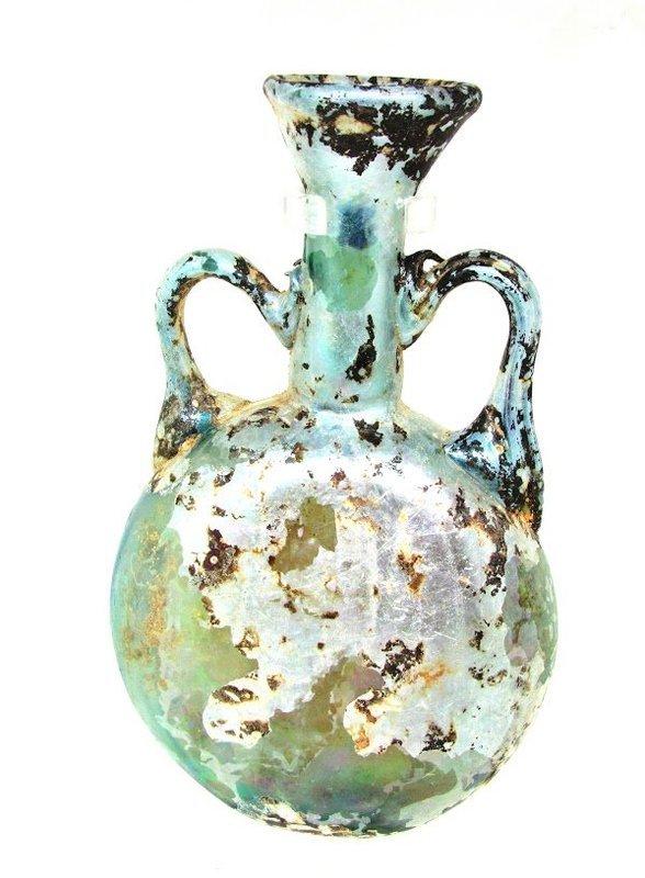 AN EASTERN MEDITERRANEAN GLASS LENTOID FLASK