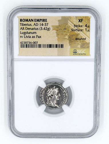A  NGC ENCAPSULATED TRIBUTE PENNY OF TIBERIUS