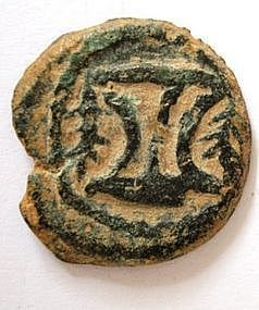 A JEWISH BRONZE COIN OF HEROD THE GREAT