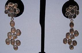 Scandinavian Silver Modernist Drop Earrings