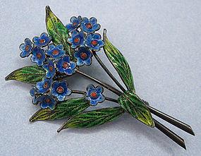 Italian Enamel and Filigree Silver Pin
