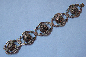 Mexican Sterling and Obsidian Bracelet