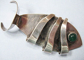 Handmade Silver and Chrysoprase Fish Pin