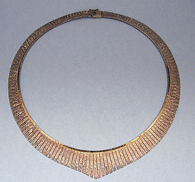 Italian Sterling Gilt Fringe Necklace