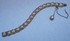 American Sterling Embossed Link Bracelet