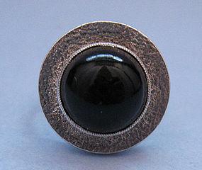 Czech Silver Ring with Glass Garnet