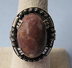 European Handmade Sterling and Agate Ring